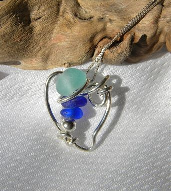 Custom Made Heart Of The Ocean Necklace With Aqua And Cobalt Blue Sea Glass