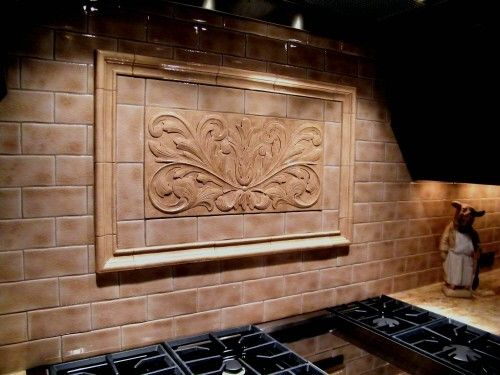 Handmade decorative backsplash using toulouse tile and plain frame liners by anderson ceramics - Custom kitchen backsplash tiles ...