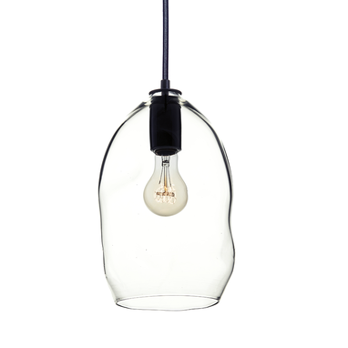 Custom Made Bubble Clear Hand Blown Glass Pendant Light- Black