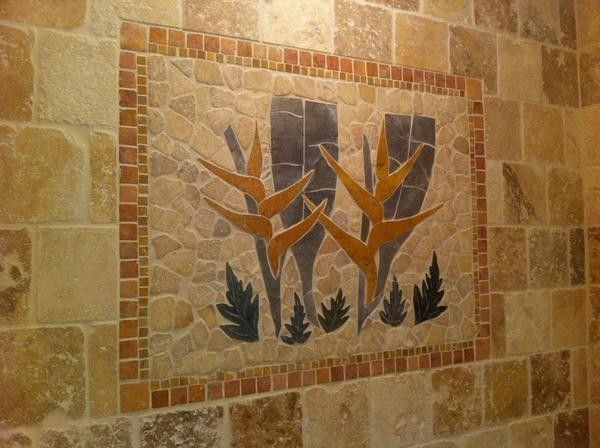 Custom Made Shower Wall Tropical Tile Mural