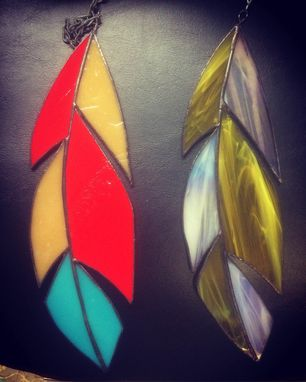 Custom Made Stained Glass Feather