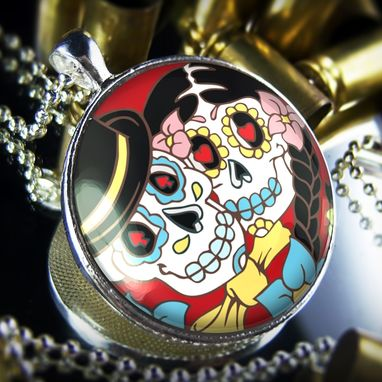Custom Made Large Dia De Los Muertos Bride & Groom Sterling Silver Necklace 68-Slrn