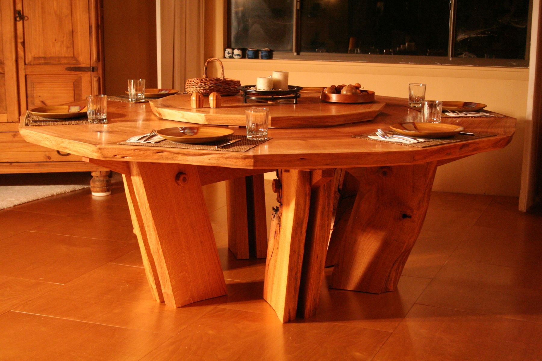 Custom Solid Slab 12 Sided Dining Table by Beacon Custom Woodwork