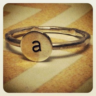 Custom Made Custom Sterling Silver Initial Ring.