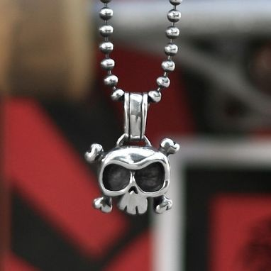 Custom Made Louie Skull Large Pendant In Sterling Silver