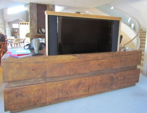 Custom Made Rustic Log Tv Cabinet Entertainment Center With Remote Controlled Television Lift