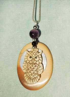 Custom Made Owl And Moon Silver Mammoth Pendant