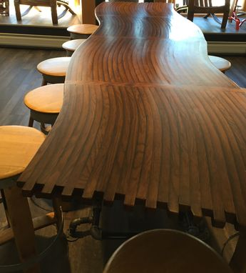 Custom Made Barrel Stave Bar Top , Kitchen Counter, Dining Room Table With Gas Pipe Base