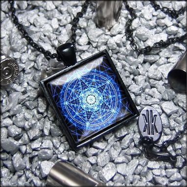 Custom Made Limited Edition Midnight Blue Pentagram Black Pendant Necklace 312-Jbspn
