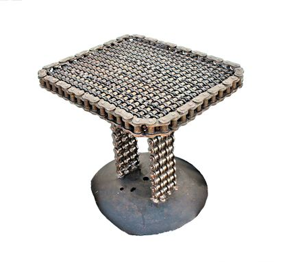 Custom Made Chain Art End Table - Chain Art Furniture
