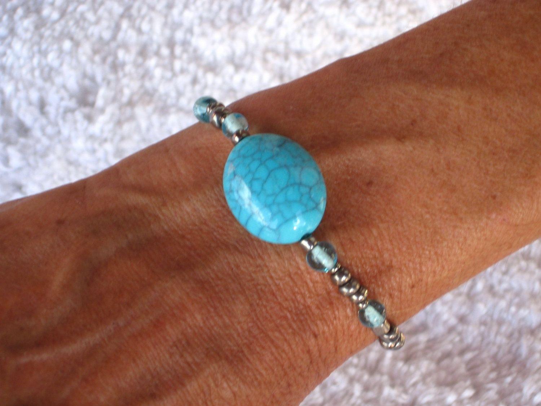 Custom Made Beach Jewelry Nautical Turquoise Color Stretchy Bracelet With Aloha