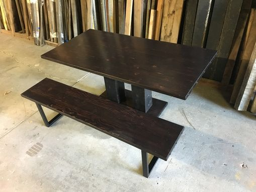 Custom Made Reclaimed Wood Dining Table & Bench