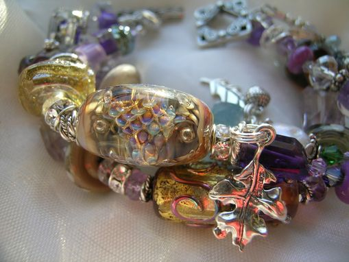 Custom Made Golden Luxe Lampwork Glass 3 Strand Wrap Bracelet 'The Faeries And The Old Oak Tree'