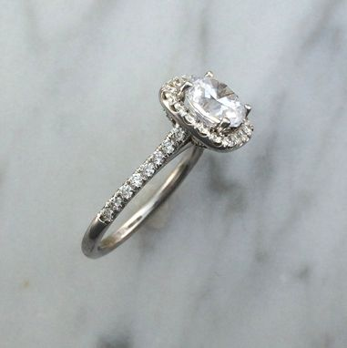 Custom Made Three Ring Wedding Engagement Set In 14k White Gold W/ Diamonds - Setting Only - Cushion Halo