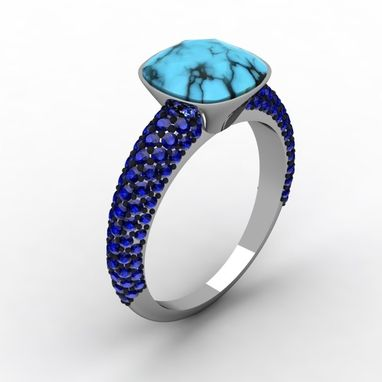 Custom Made Saphire Encrusted Platinum Ring With Turquoise