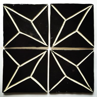 Custom Made Set Of 4, Sgraffito Carved Geometrical Diamond Tile