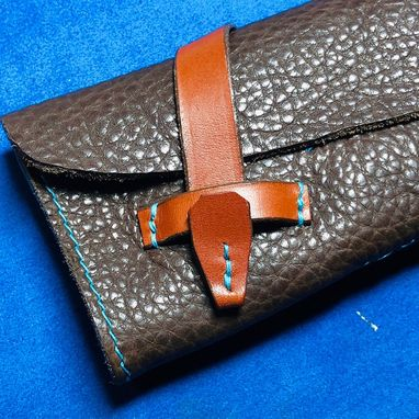 Custom Made Garny - Leather Pen Roll - Buffalo Leather - Dark Brown Leather