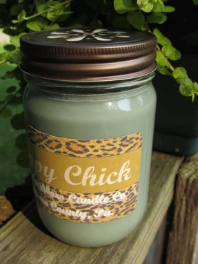 Custom Made Soy Candle,Hippy Chick,12 Ounce,Patchouli Vanilla, Leopard Print, Jar Candle,Hemp Wick,Green
