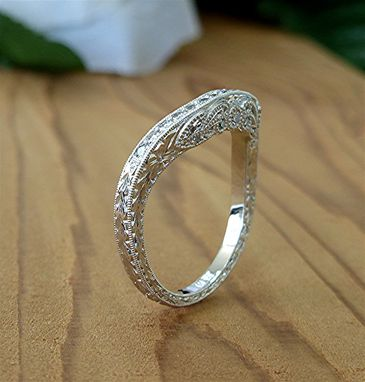 Custom Made Diamond And Platinum Curved Matching Band