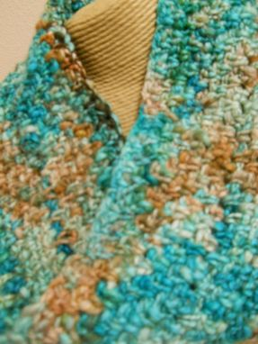 Custom Made Handspun Wool Cowl Infinity Scarf Peacock Green Tan