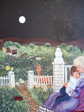 Custom Made Original Painting On Canvas Titled: Full Moon Mommy