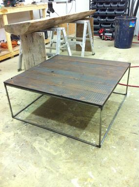 Custom Made Barn Wood And Steel Coffee Table
