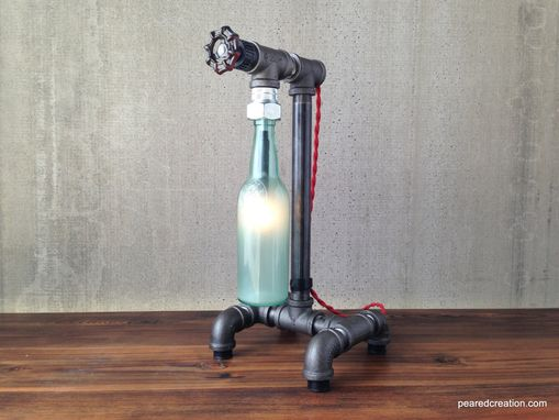 Custom Made Industrial Beer Bottle Lamp - Faucet Switch - Iron Pipe - Historic Bottles