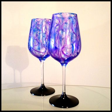 Custom Made Purple And Blue, Abstract Design. White Wine Glasses.