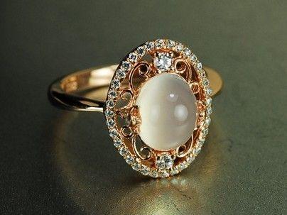 stone half rings of moon ring unique elegant three engagement