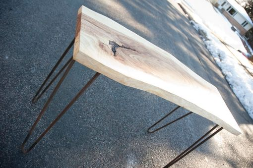 Custom Made Natural Reclaimed Live Edge Slab Occasional / Console Table With Steel Legs