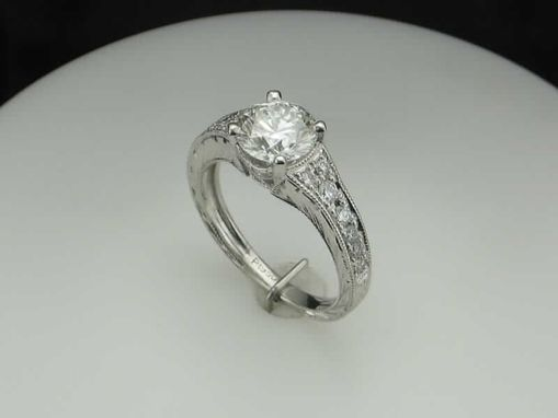 Custom Made Platinum Engraved  Diamond Engagement Ring