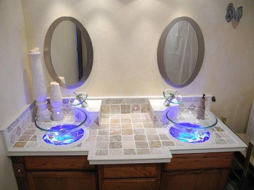 Custom Made Custom Back-Lit Glass Koi Fish Mosaic Vanity And Sink