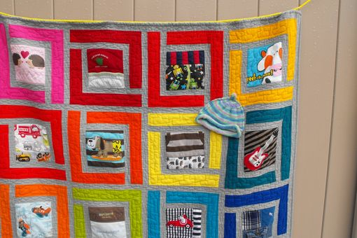 "Custom Made Baby Clothes (T-Shirt) Memory Quilt - Large Size Approx 48"" X 48"" (16 Squares)"