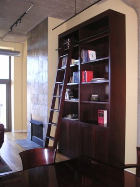 Custom Made Custom Bookcase With Library Ladder