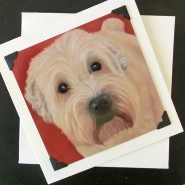 Custom Made Wheaton Terrier Art Card - Dog Art Greeting Card - Smooth Coated Wheaton Terrier
