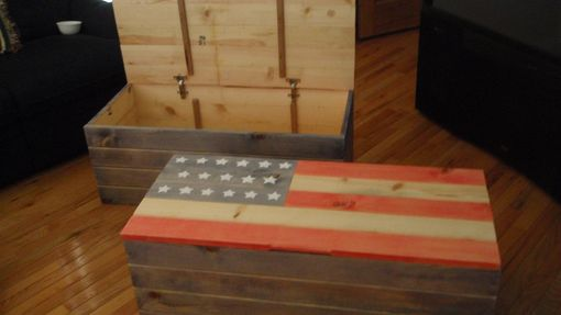 Hand Made Old Glory American Flag Blanket Chest By The