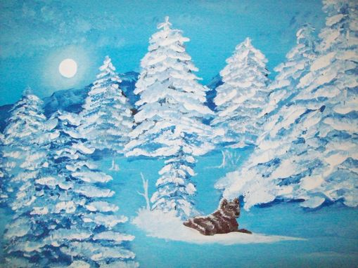 Custom Made Original Painting On Masonite Board Titled: Blue Wolf