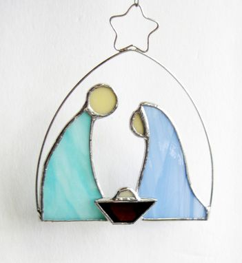 Custom Made Nativity Ornament In Pale Blue And Aqua Stained Glass