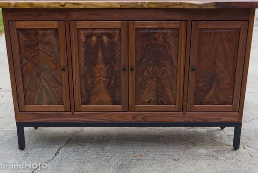 Custom Made Walnut Credenza W/ Black Steel Base