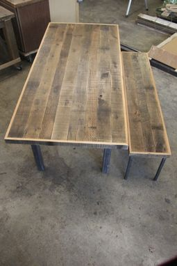 Custom Made Mixed Reclaimed Oak Dinning Table & Matching Bench