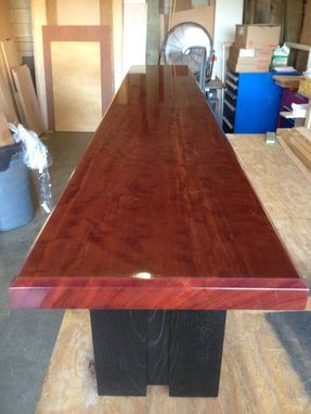 Custom Made Waterfall Bubinga Bench With Ebonized White Oak Legs