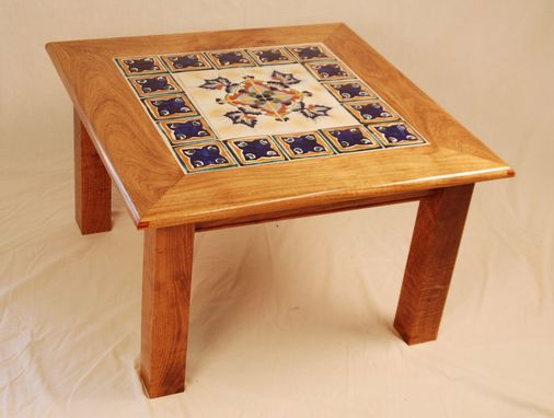 Custom Made Mesquite Blue Tile Table