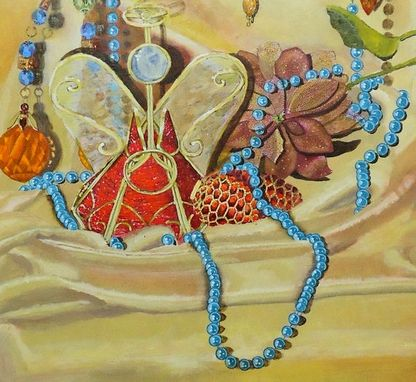 Custom Made Still Life Painting, Fine Art Original Acrylic On Canvas: Glass Ornaments, Blue Pearls
