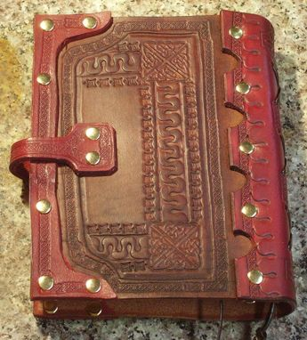 Custom Made Handcrafted Antiqued Red & Brown Leather Blank Book Journal With A Medieval Appearance
