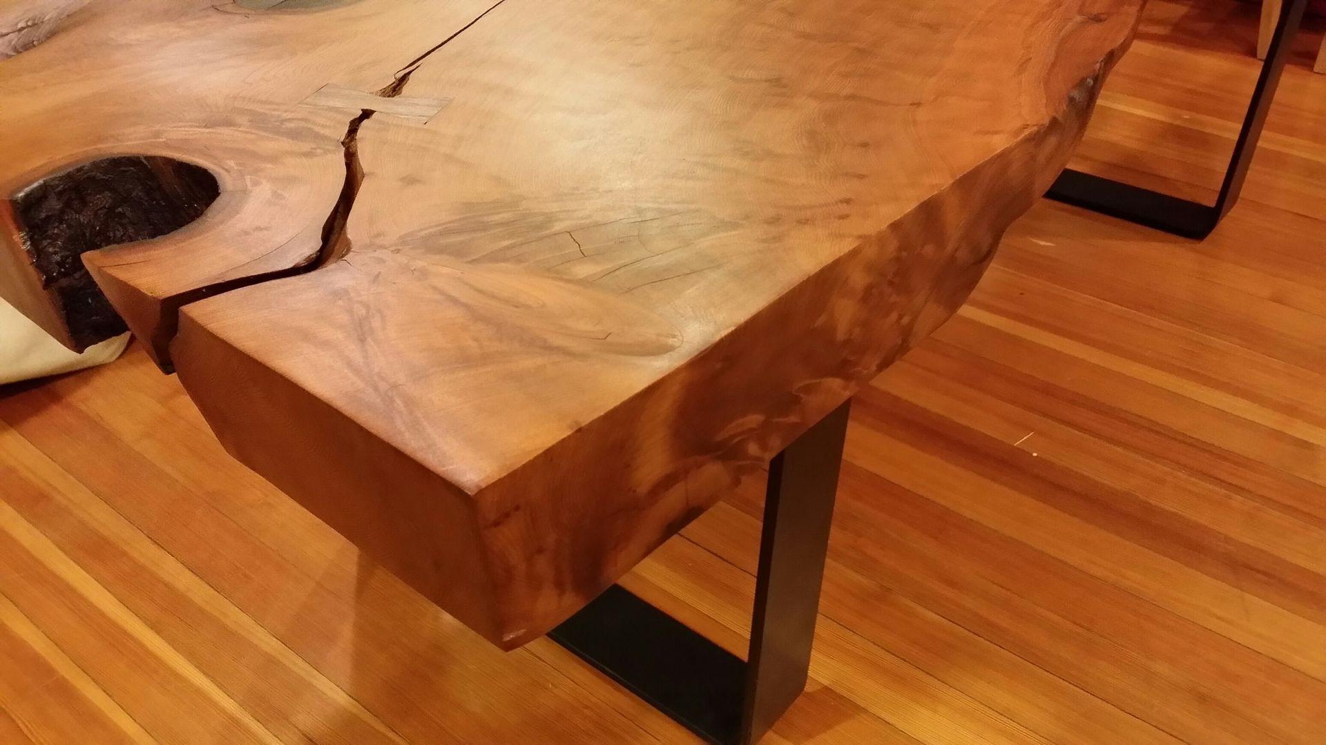 Custom Made Redwood Slab Dining Table by Landberg Designs
