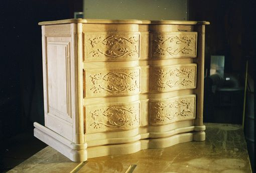 Custom Made 3-Drawer Alder Serpentine Chest Of Drawers