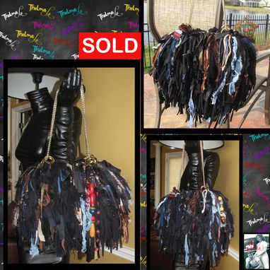 Custom Made Black Brown Blues Reds Custom Made Fringe Handbag,Unique,One Of A Kind,Upcycled