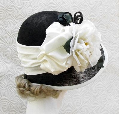 Custom Made Vintage 20s Black And White Hat Cloche Wide Brim Large Flower