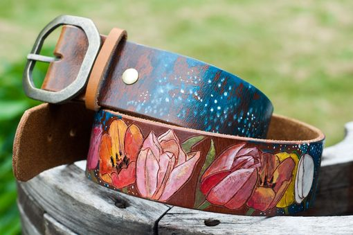 Custom Made Tulips To Stars Leather Belt