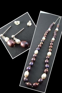 Custom Made White And Black Pearl Necklace.